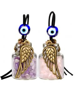 Angel Magic Wings Small Car Charms Home Decor Gem Bottles Amethyst Rose Quartz Protection Amulets
