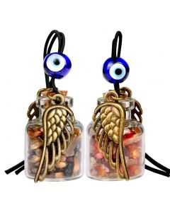 Angel Magic Wings Small Car Charms Home Decor Gem Bottles Carnelian Tiger Eye Protection Amulets