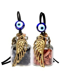 Angel Magic Wings Small Car Charms Home Decor Gem Bottles Blue Red Goldstone Protection Amulets