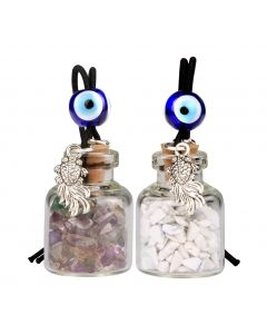 Fortune Fish Small Car Charms Home Decor Gem Bottles Fluorite White Howlite Protection Amulets