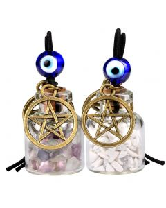Star Magic Pentacle Small Car Charms Home Decor Bottles Fluorite White Howlite Protection Amulets