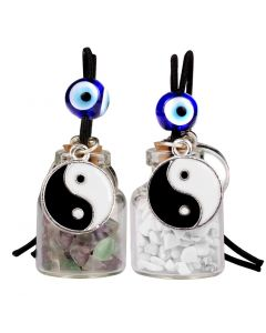 Yin Yang Balance Small Car Charms or Home Decor Bottles Fluorite White Howlite Protection Amulets