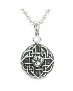 Amulet Celtic Shield Knot Baby Wolf or Cat Paw White Cats Eye Protection Powers Pendant Necklace