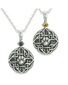 Amulets Love Couple or Best Friends Celtic Wolf Paw Set Tiger Eye and Simulated Onyx Necklaces