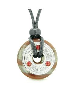 Amulet Celtic Triquetra Knot Lucky Coin Donut Charm Dragon Eye Hematite Iron Pendant Necklace