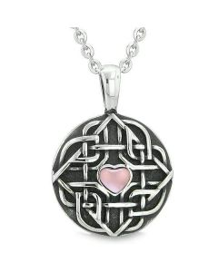 "Amulet Celtic Shield Knot Magic Heart and Protection Powers Pink Cats Eye Pendant 18"" Necklace"