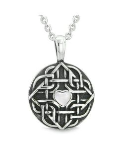 "Amulet Celtic Shield Knot Magic Heart and Protection Powers White Cats Eye Pendant 18"" Necklace"