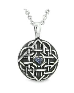 "Amulet Celtic Shield Knot Magic Heart and Protection Powers Blue Goldstone Pendant 18"" Necklace"