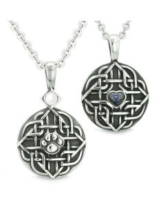 Amulets Love Couple or Best Friends Celtic Shield Wolf Paw Heart White Cats Eye Goldstone Necklaces
