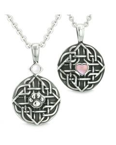 Amulets Love Couple Best Friends Celtic Shield Wolf Paw Heart Pink and White Cats Eye Necklaces
