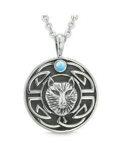Amulet Courage Wisdom Wolf Ancient Viking Celtic Knot Simulated Turquoise ProtectiNecklace
