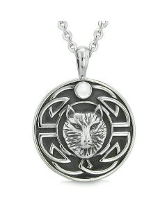 Amulet Courage Wisdom Wolf Ancient Viking Celtic Knot White Cats Eye Protection Powers Necklace
