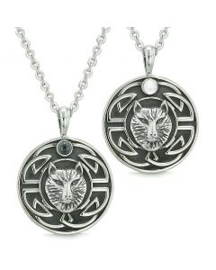 Amulets Love Couple or Best Friends Celtic Viking Wolf Set Simulated Onyx White Cats Eye Necklaces