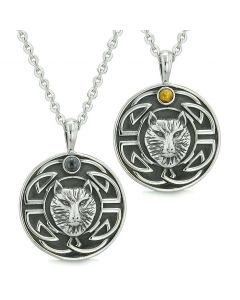 Amulets Love Couple or Best Friends Celtic Viking Wolf Set Tiger Eye and Simulated Onyx Necklaces