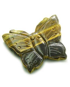 Amulet Tiger Eye Butterfly Gemstone Carving Healing Evil Eye Powers Pocket or Desk Totem with Pouch