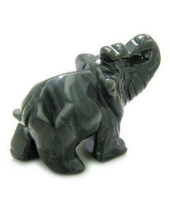 Amulet Black Onyx Elephant Gem Carving Spiritual ProtectiPocket Desk Totem Good Luck with Pouch