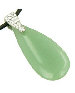 Crystal Tear Drop Exclamation Aventurine Gem Pendant Necklace