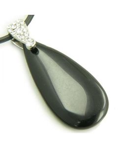 Crystal Tear Drop Exclamation Black Onyx Gem Pendant Necklace