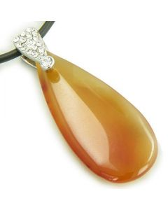 Crystal Tear Drop Exclamation Carnelian Gem Pendant Necklace