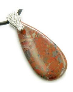 Crystal Tear Drop Exclamation Jasper Gem Pendant Necklace