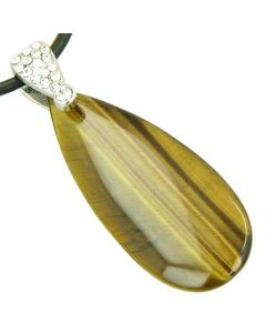 Crystal Tear Drop Exclamation Tiger Eye Gem Pendant Necklace
