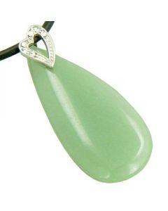 Crystal Tear Drop Heart Aventurine Gem Pendant Necklace