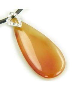 Crystal Tear Drop Heart Carnelian Gem Pendant Necklace