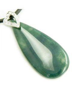 Crystal Tear Drop Heart Green Moss Agate Gem Pendant Necklace