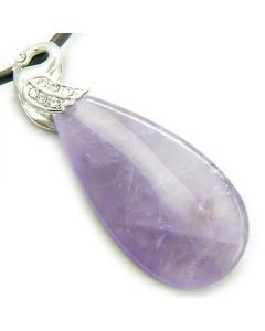 Crystal Tear Drop Swan Amethyst Gem Pendant Necklace
