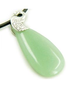 Crystal Tear Drop Swan Aventurine Gem Pendant Necklace
