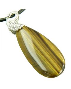 Crystal Tear Drop Swan Tiger Eye Gem Pendant Necklace