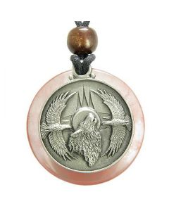 Amulet Howling Wolf Eagles Magic Medallion Circle Cherry Quartz Crystal Pendant Necklace