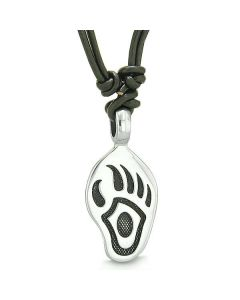 Amulet Bear Paw Brave and Protection Powers Lucky Charm Pendant on Adjustable Leather Cord Necklace