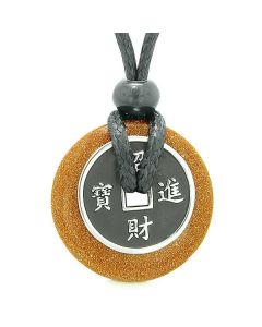 Amulet Lucky Coin Charm Donut Red Goldstone Crystal Magic Spiritual Powers Adjustable Necklace