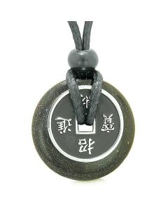 Amulet Lucky Coin Charm Donut Blue Goldstone Crystal Magic Spiritual Powers Adjustable Necklace
