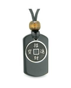 Amulet Lucky Coin Charm Black Agate Tag Spiritual and Good Luck Powers Pendant Adjustable Necklace
