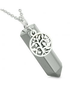 Magical Tree of Life Energy Amulet Lucky Crystal Point Hematite Pendant 22 Inch Necklace