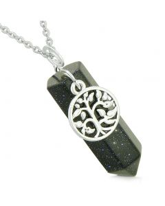 Magical Tree of Life Energy Amulet Lucky Crystal Point Blue Goldstone Pendant 22 Inch Necklace