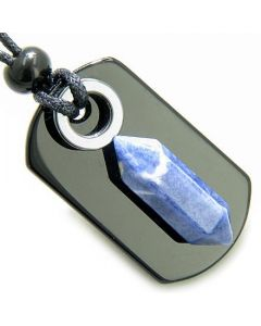 Exclamation Triple Lucky Amulet Crystal Point Tag Onyx Hematite Sodalite Gemstones Pendant Necklace