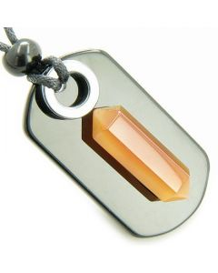 Exclamation Triple Lucky Amulet Crystal Point Tag Hematite Onyx Carnelian Gemstone Pendant Necklace