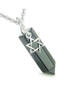 Amulet King of Solomon Star of David Crystal Point Magic Charm Onyx Spiritual Pendant Necklace