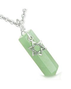 Amulet King of Solomon Star of David Crystal Point Magic Aventurine Gem Spiritual Pendant Necklace