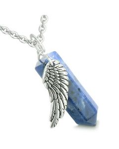 Amulet Angel Wing Archangel Gabriel Magic Crystal Point Sodalite Spiritual Pendant Necklace