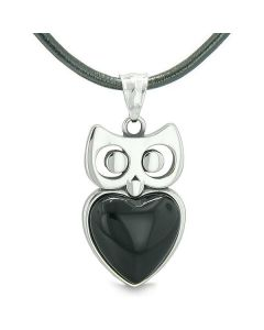 Amulet Owl Cute Heart Lucky Charm Positive Energy Faux Black Onyx Pendant on Leather Necklace