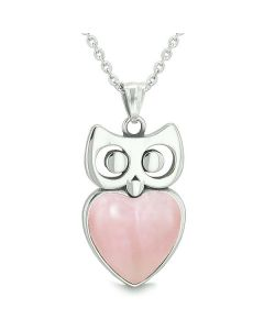 """Amulet Owl Cute Heart Lucky Charm Positive Energy Pink Cat's Eye Pendant on 22"""" Necklace"""