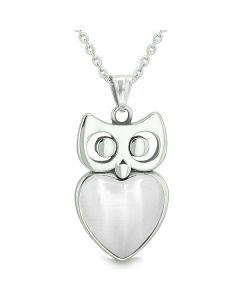 """Amulet Owl Cute Heart Lucky Charm Positive Energy White Cat's Eye Pendant on 22"""" Necklace"""