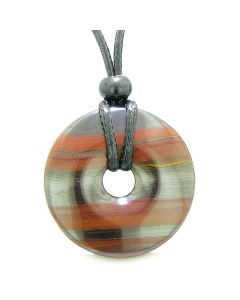 Amulet Lucky Coin Shaped Large Donut 40mm Dragon Eye Hematite Iron Charm Protection Powers Necklace