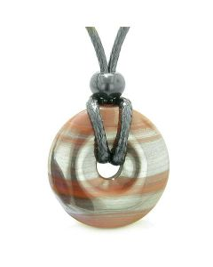 Amulet Lucky Coin Shaped Donut 30mm Dragon Eye Hematite Iron Charm Protection Powers Necklace
