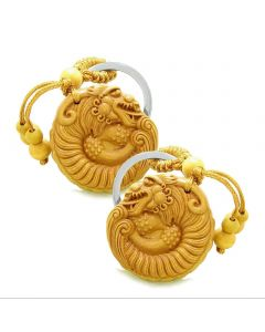 Amulet Courage Magical DragGood Luck Charms Protection Powers Feng Shui Keychain Set Blessings
