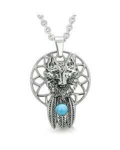 Dreamcatcher Courage Wolf Feathers Magic Spiritual Moon Powers Turquoise Gem Pendant Necklace